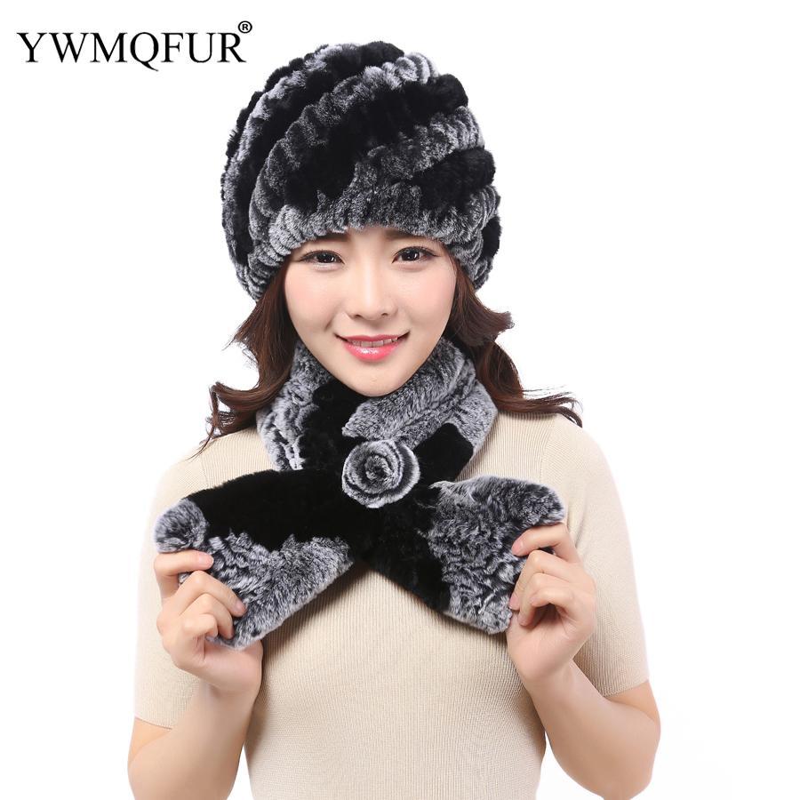 4883e63f9 2019 Winter Fur Hat Scarf Sets For Women Thick Warm Girl Hat Rex Rabbit Fur  Female Beanies Ladies Cap Scarves 2018 Hot Sale YWMQFUR From Kwind, ...