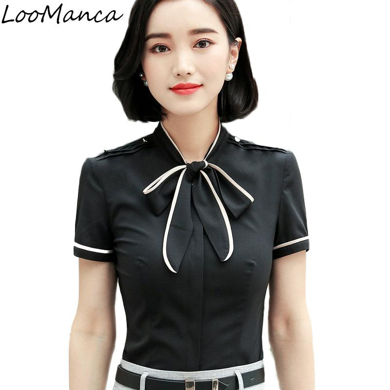 32c7b9b276 2019 Formal Shirt Women Clothes 2018 New Summer Short Sleeve Bow Tie  Chiffon Blouse OL Office Lady Work Wear Patchwork Tops From Beimu