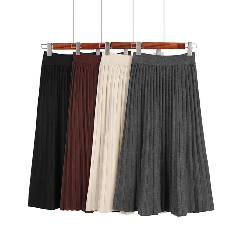 7c7907f95 Compre Falda Midi Negra De Punto Otoño Falda Casual Mujer Lisa 2018 Cintura  Alta De Invierno Sólido Elástico Plisado A $30.36 Del Vickay | DHgate.Com