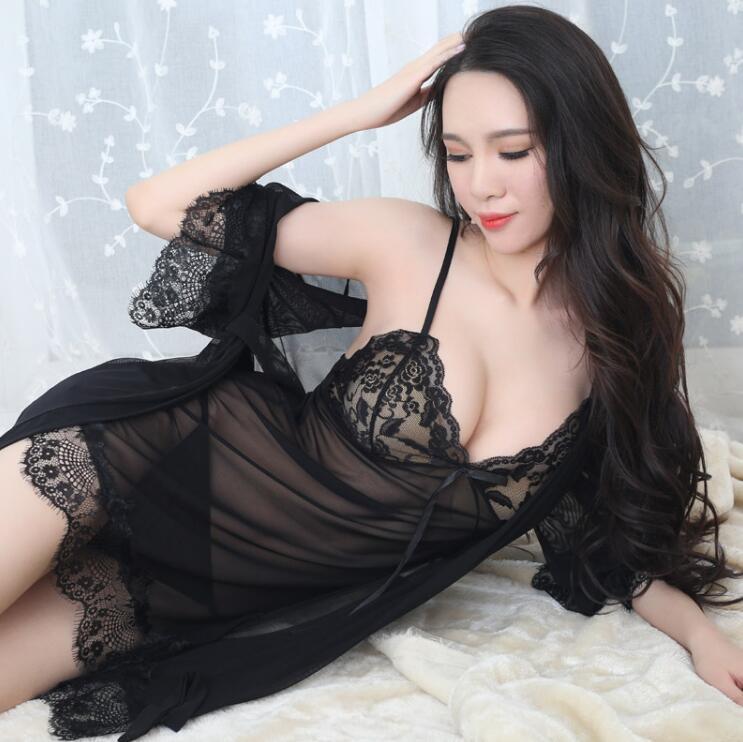 Sexy Frauen Robe + Schlaf-Kleid Nachtkleider Nachthemden Nachtwäsche Königin Spitze Schlafen Kleider Nachtwäsche für Frauen Verschiffen