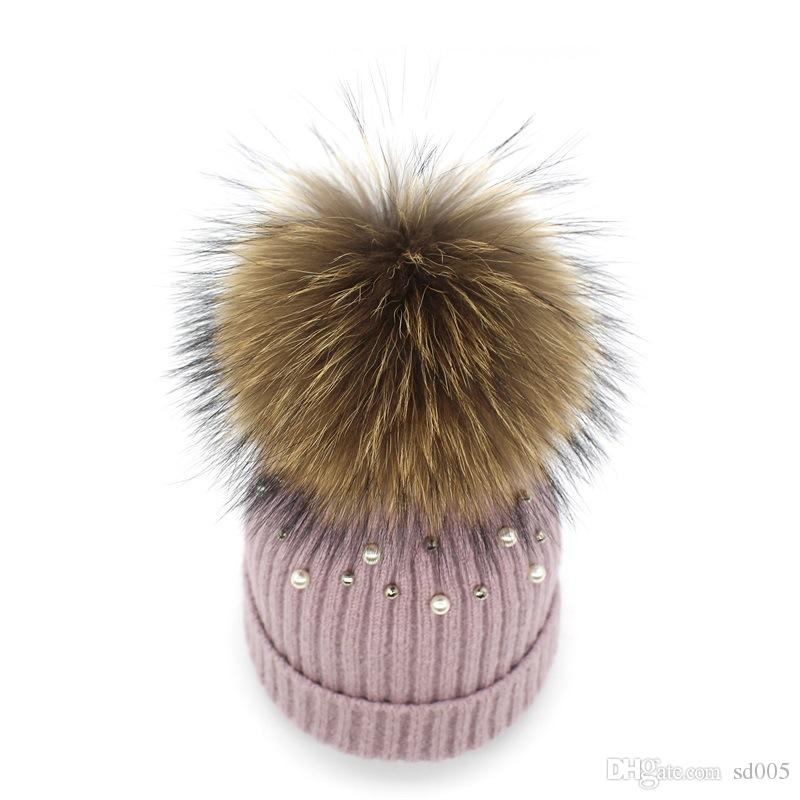 Women Racoon Dog Ball Top Knitted Hat Winter Curling Warm Pearl Wool Cap Outdoor Driving Riding Thickening Beanies 27 5ch ff