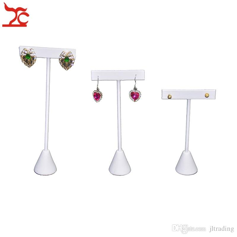 Big Sale White PU Jewelry Display Rack Earring Tree T Bar Display Holder Earrings Stud Hook Organizer Storage Showcase Stand 3 Sizes