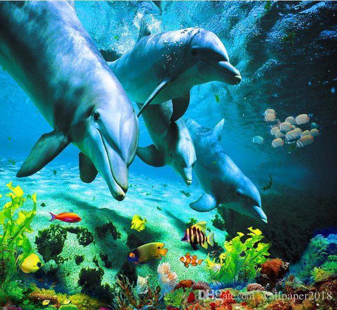 фото настенная роспись океан мир Дельфин туалет ванная комната спальня 3D пол виниловые полы ванная комната