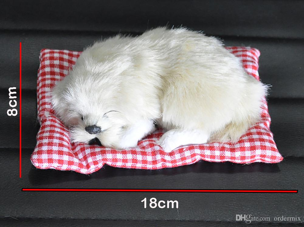 Car Ornament ABS Plush Dogs Decoration Simulation Sleeping Dog Toy Automotive Dashboard Decor Ornaments Cute Auto Accessories