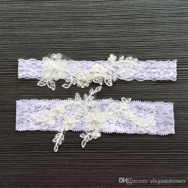 f725ad7717f Set Lace Appliques Pearls Bridal Leg Garters Prom Garter Bridal Wedding  Garter Belt Faux Pearls Free Size Lace Bridal Accessories Handmade Wedding  Garters ...