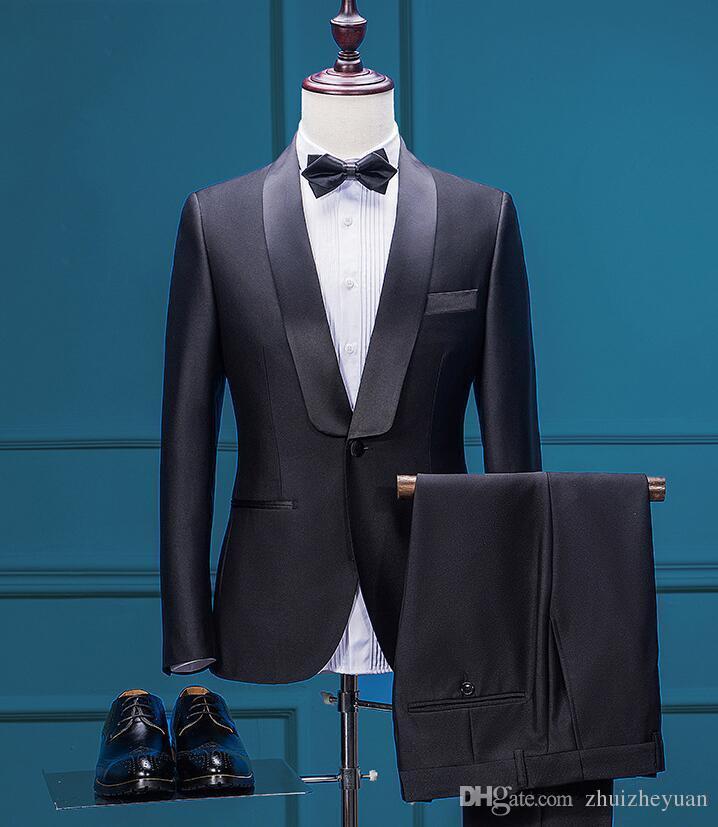 2018 Nuevo diseño Negro Groom Wear Dos piezas Slim Fit trajes de boda Barato Custom Made Mens Business Wear Jacket + Veil + Pants + Tie