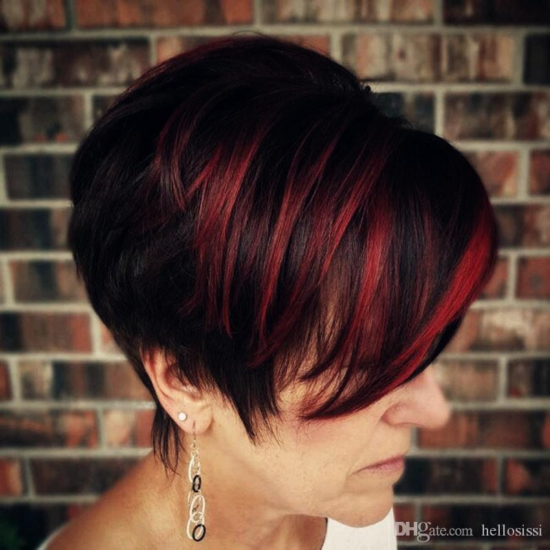 Short Huaman Hair Wigs Red Highlight Bangs Pixie Cut Short Bob ...