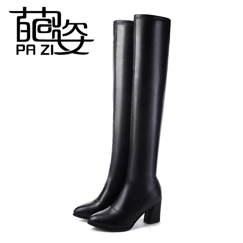 c0c5f541d 2018 Women Boots Stretch PU Leather Over The Knee High Sexy Ladies Party  High Heels Platform Shoes Woman Black Plus Size Cheap Shoes Womens Shoes  From ...
