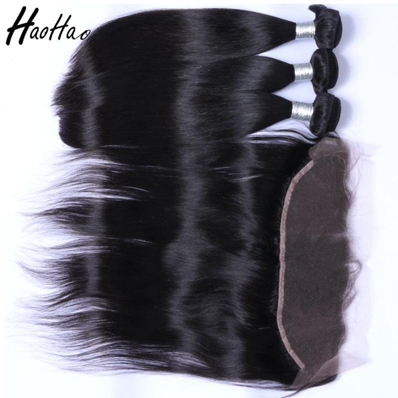 Бразильские пучки человеческих волос с закрытием 4*4 и человеческие волосы фронтальные 13*4 бразильские девственные волосы прямо для чернокожих женщин афроамериканцев