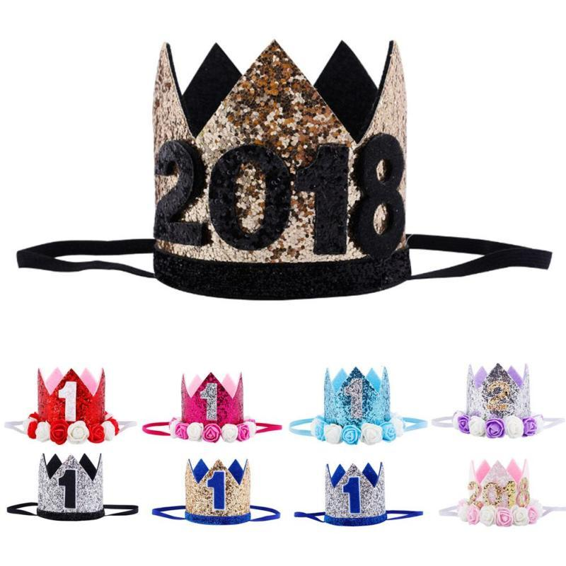 Kids 2018 New Year 1St Birthday Hat Baby Party Cap Girl Boys Pink Blue Flowers Princess Crown Headband Hairwear V3 Hats For Girls