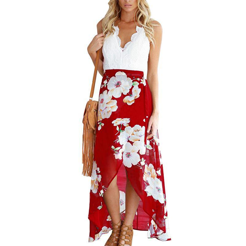 ef68676204a New Fashion Summer Style Women Lace Long Flower Print Patchwork ...