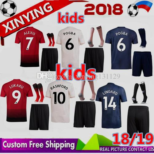 sale retailer 31449 0b4fa 2018 2019 new kids Manchester United soccer jersey kits 18 19 MARTIAL  LINGARD MATA RASHFORD LUKAKU ALEXIS POGBA football shirt boys Set