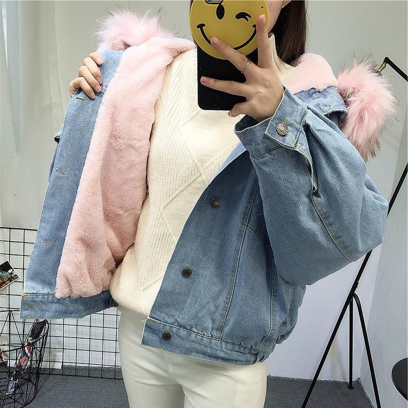 100% authentique 0973d a5846 Elexs velours épais veste en jean femme hiver grand col de fourrure