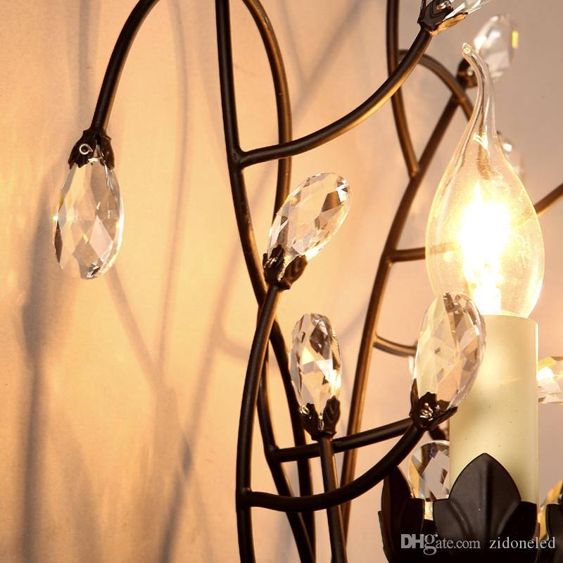 American style branch wall sconce lights iron crystal chandeliers wall lamp 2 E14 lamp holder for Bedside Bedroom/Dinning Room/Restroom