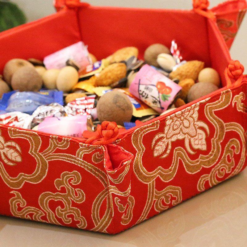 Brocade Snacks Storage Tray Table Desktop Organizer Candy Tray Dried Fruit Box Wedding New Year Decoration ZA6168