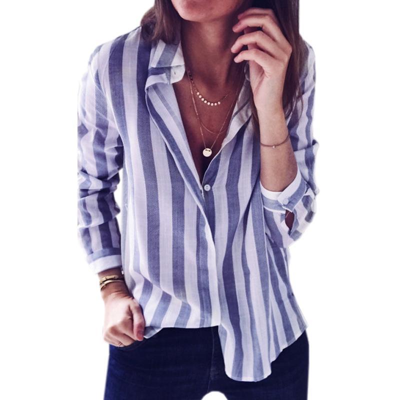 606e6090f0 Großhandel Sexy Umlegekragen Gestreifte Bluse Shirts Casual Frauen ...