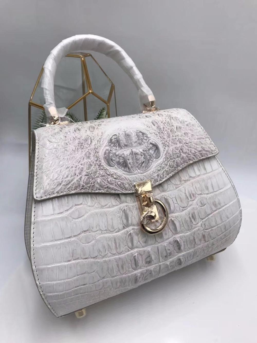 9a73fc37739b Luxury Famous Designer Genuine Crocodile Skin Exotic Alligator Leather  Ladies Saddle Handbag Female Orange Shoulder Bag Purse Saddle Handbag Bag  Purse ...