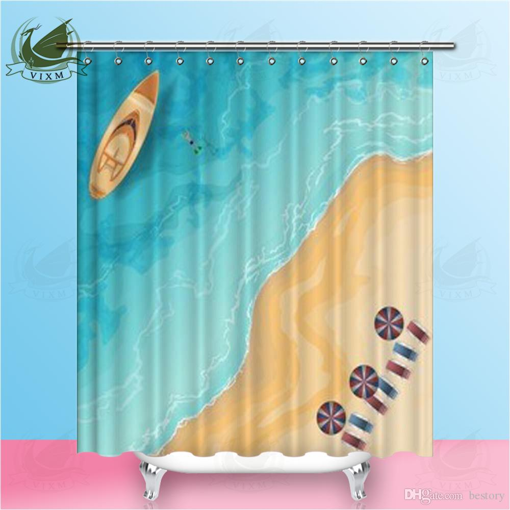 2019 Vixm Home Romantic Seaview Dolphins Shower Curtain Waterproof And Mildew Resistant Blue Series For Bathroom With Hooks Ring 72 X From Bestory