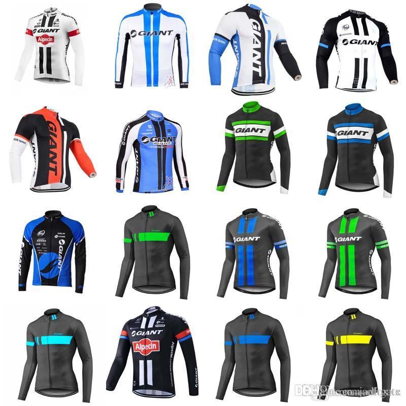 GIANT Team Cycling Long Sleeves Jersey Men S Outdoors MTB Running Bicycle  NEW T Shirt Riding Bike Clothes Sportwear D1005 Custom Bike Jerseys  Mountain Bike ... 942e9500f
