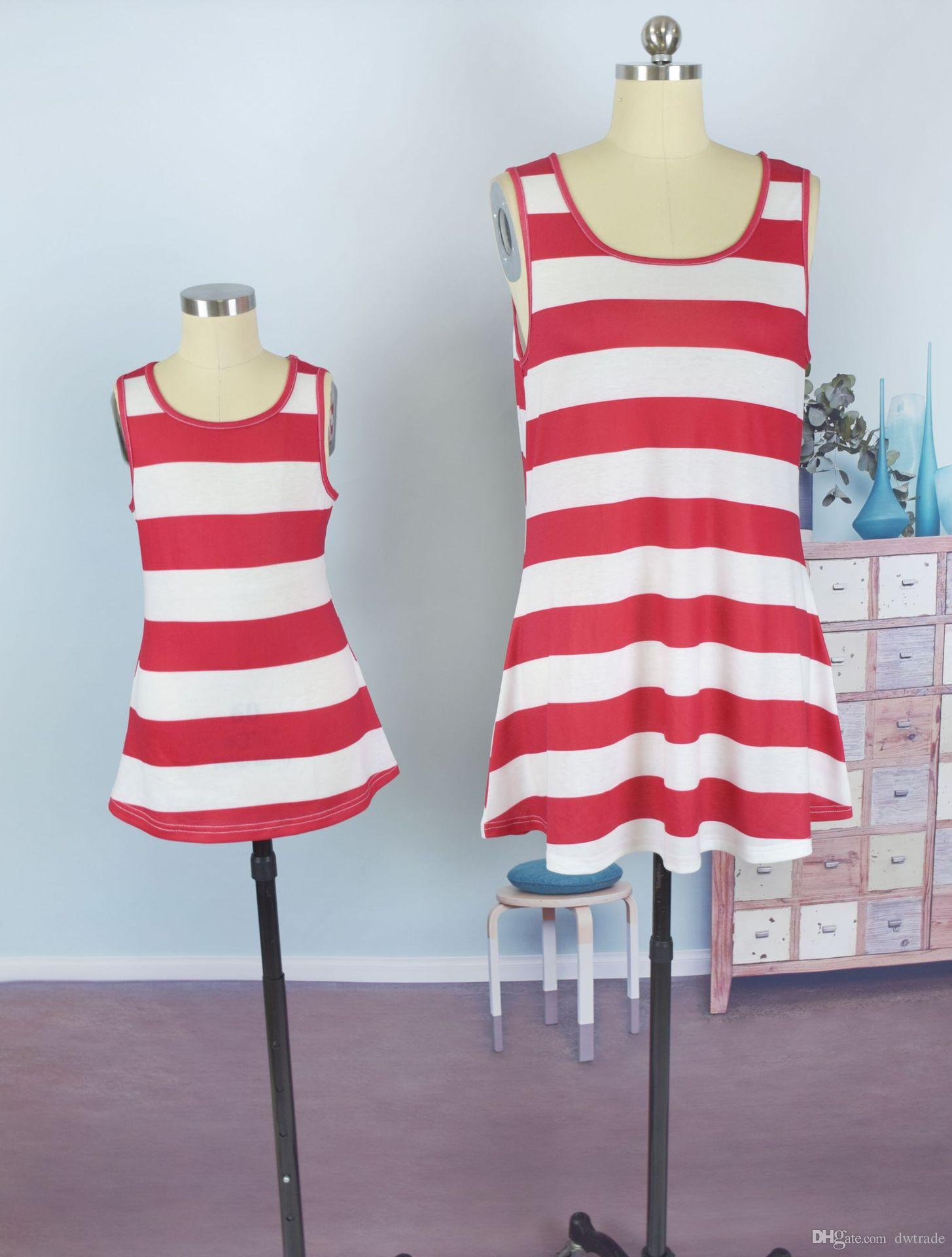 Fashion Mother Daughter Clothing Red and White Striped Vest with Large Bow Tie Back Girls Sleeveless Tops Family Matching Outfits