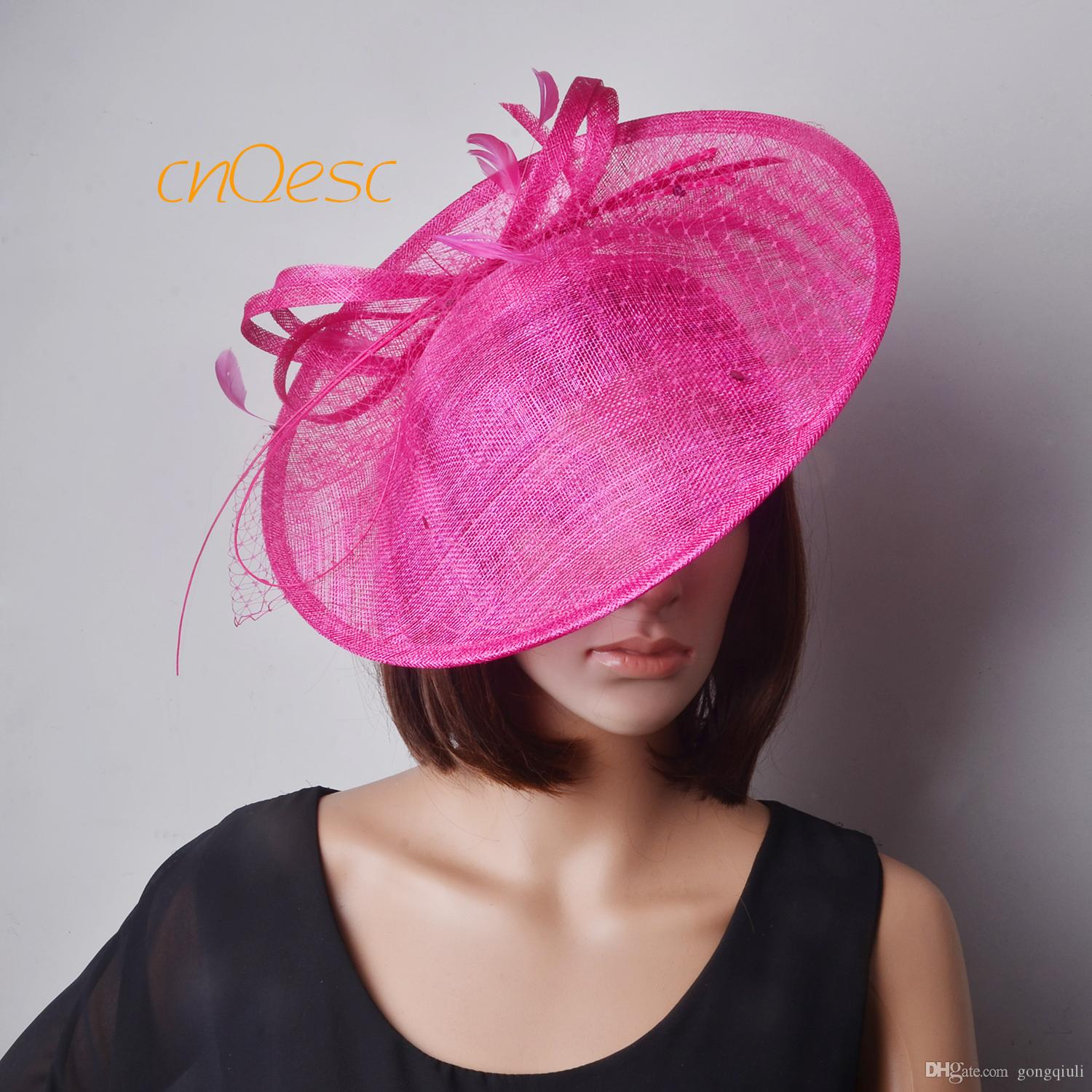 749f4e9d6cb Hot Pink Saucer Fascinator Sinamay Fascinator Formal Hat for Races ...