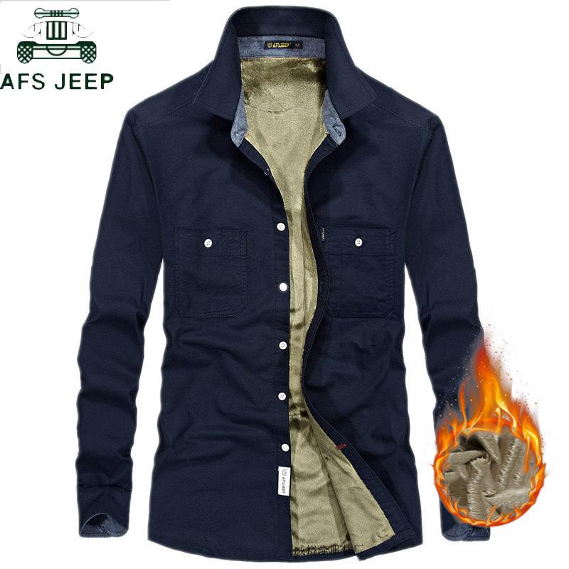 630eba0c413 2019 AFS JEEP 2018 Autumn Winter Thick Fleece Liner Shirt Men Long Sleeve  Turn Down Collar Mens Shirts Plus Size 4XL Camisa Masculina C18111601 From  ...