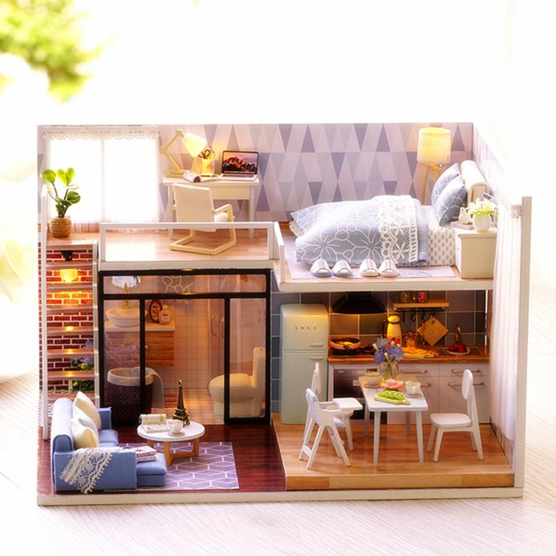 Cute Room DIY Doll House With Furniture LED Light Miniature 3D Wooden Mini  Dollhouse Handmade Toys Gift For Kids L023 #E Dolls Houses Kits Family  Dollhouse ...