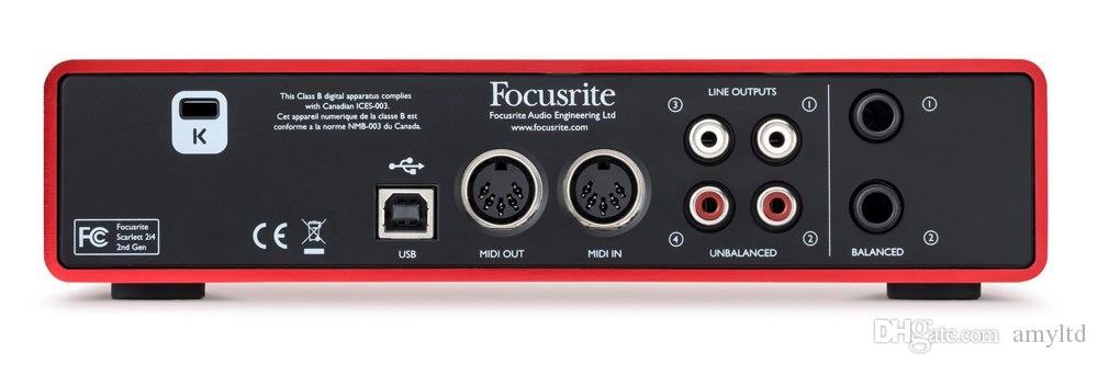 Original FOCUSRITE Scarlett 2i4II USB audio interface Guitar recording sound card 2 in / 4 out for musicians and digital DJs