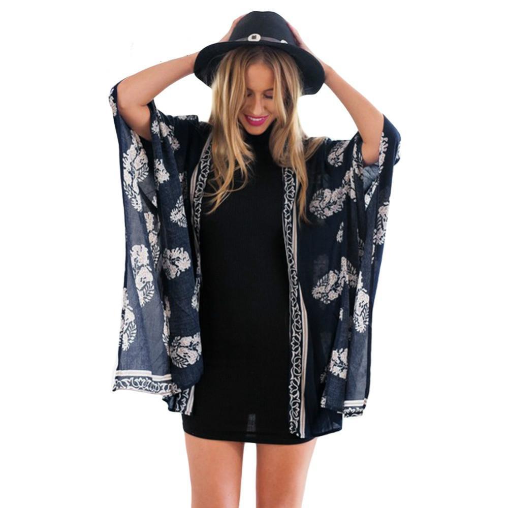 Bohemain Women Swimwear Floral Lace Kimono Cardigan Blouse Kaftan Cover Up Beachwear Women's Clothing