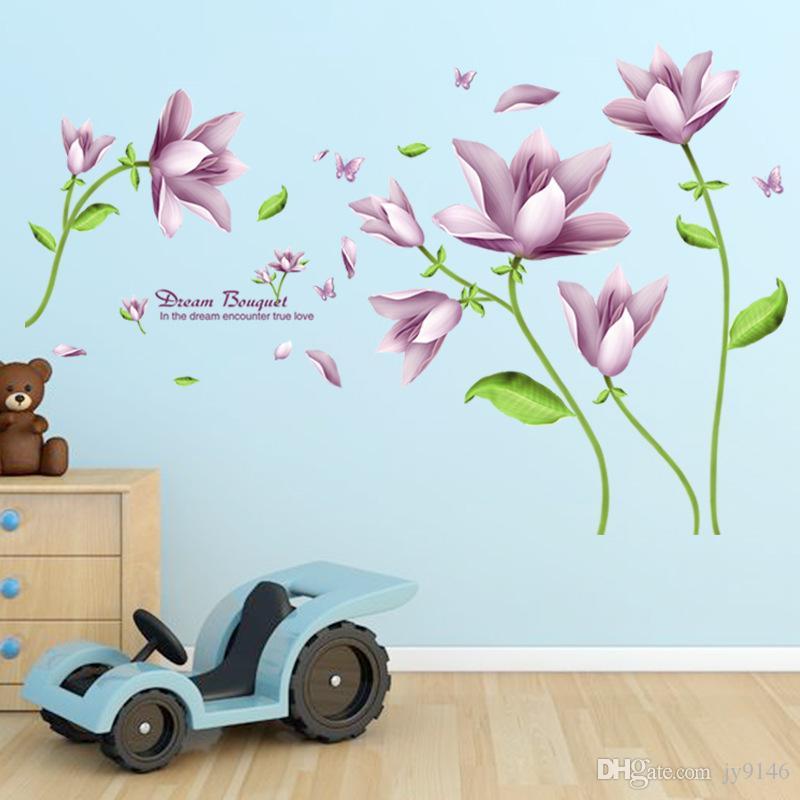 diy purple flower wall sticker pvc elegant bouquet wall decal for
