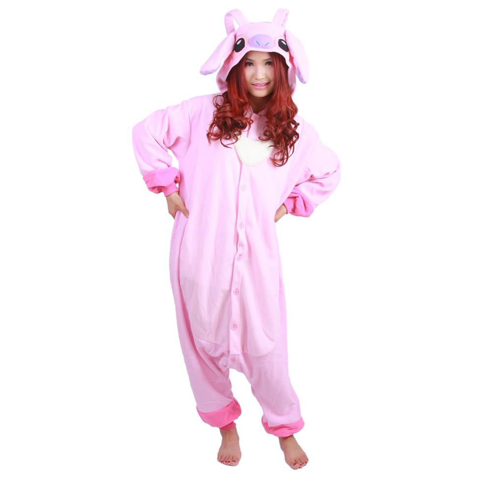 efa7df443bbd Cosplay Pink Animal Stitch Pajamas Onesie For Adults Women Hooded Fleece  Pijamas Mujer Jumpsuit Halloween Costumes For Man Women Inuyasha Cosplay  Costume ...