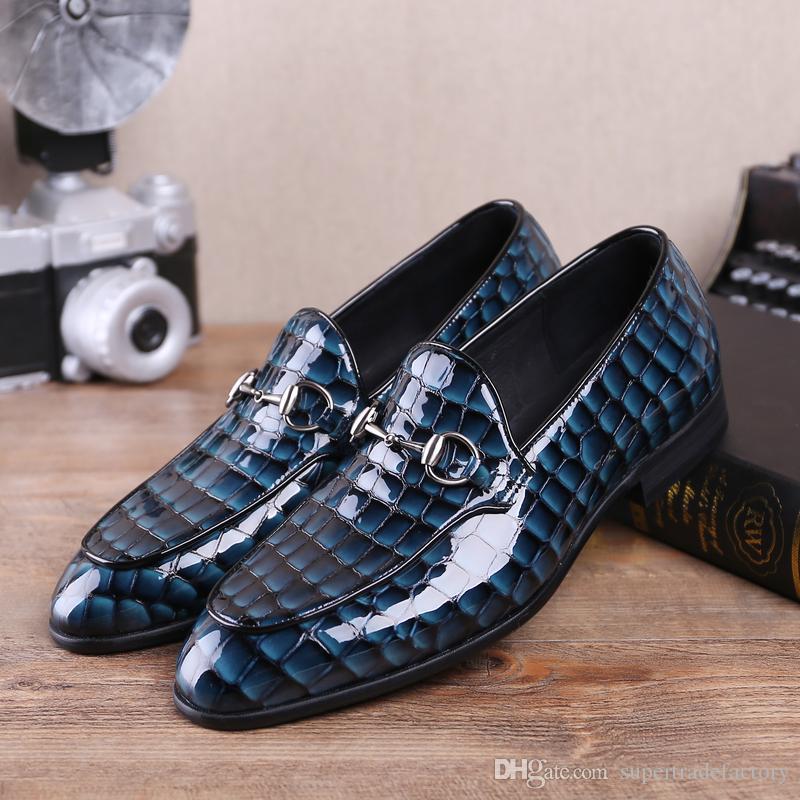 Blau Schuhe Müßiggänger Sommer Männer Schwarz Serpentine