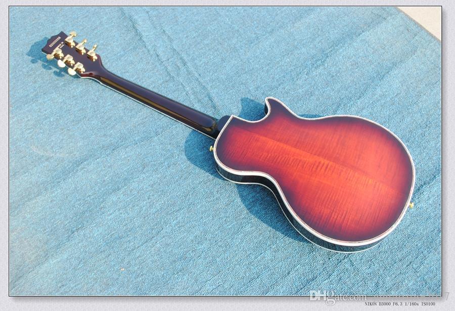 Hardware su ordinazione dell'hardware della tastiera del fiore della chitarra di jazz della ciliegia nera mancino del negozio di abitudine CALDO
