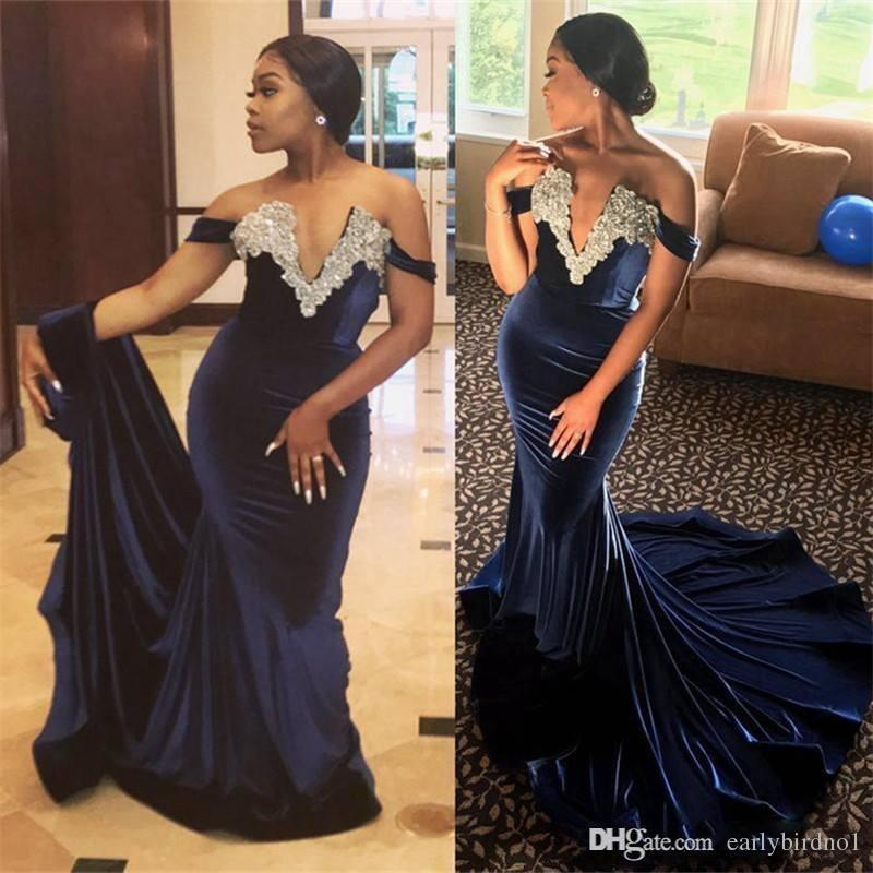 New Navy Blue Velvet Mermaid Evening Dresses 2018 Arabic Nigeria African Off Shoulder Beaded Fishtail Prom Party Gowns Formal Wear