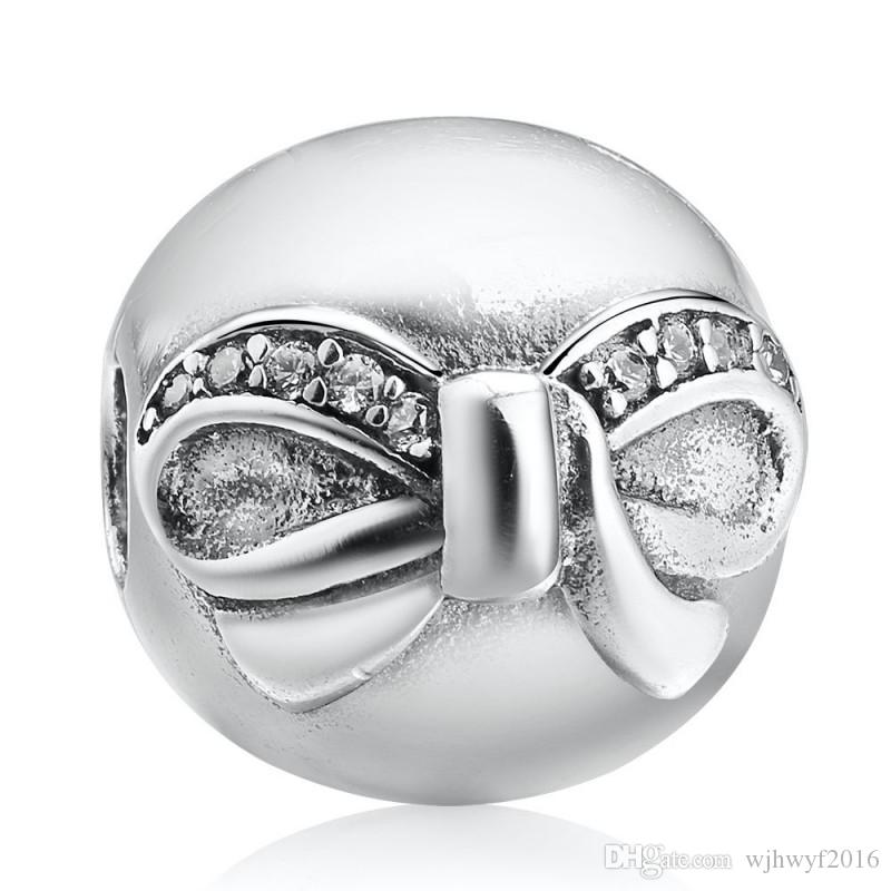 ee65660ff 2018 New Bowknot Clip Charms Bead Authentic 925 Sterling-Silver ...