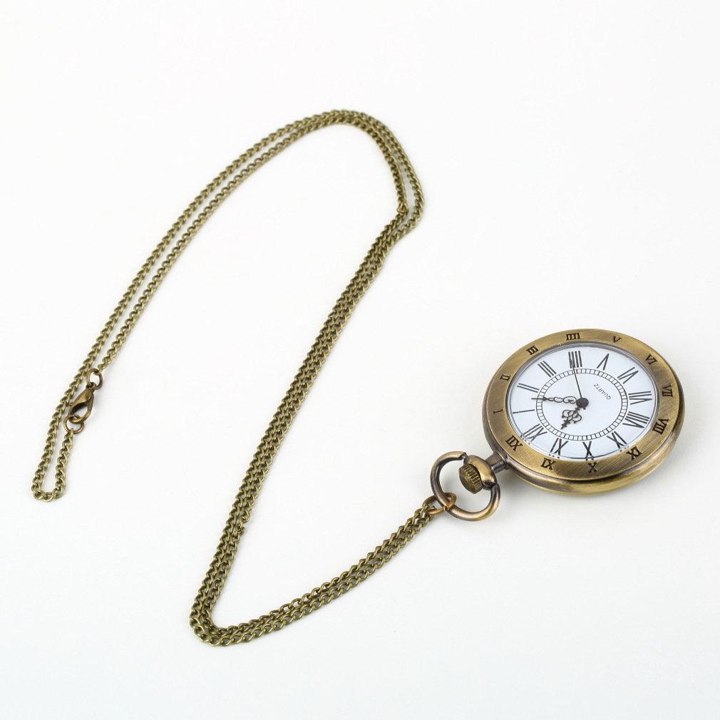 fc8fb27af97e Compre Reloj De Bolsillo Romano De Bronce Antiguo Collar De Cadena De  Numeración Colgante De Cuarzo Relojes Textura Simple 2018 Venta Caliente A   20.61 Del ...
