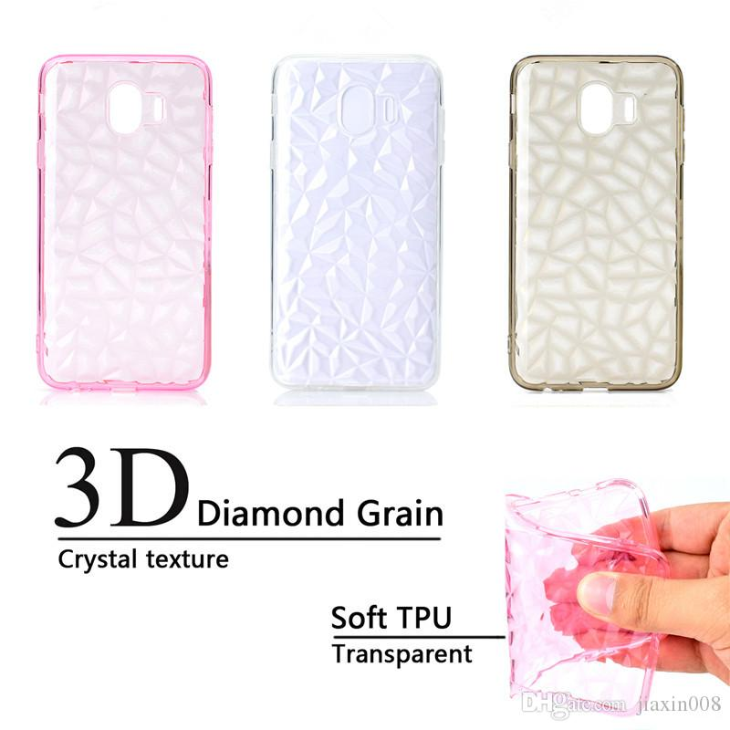 pretty nice 7efd9 b149b Back Cover For Samsung Galaxy J4 2018 Case Transparent Soft TPU 3D diamond  pattern Mobile Phone Cases For Samsung J4 2018