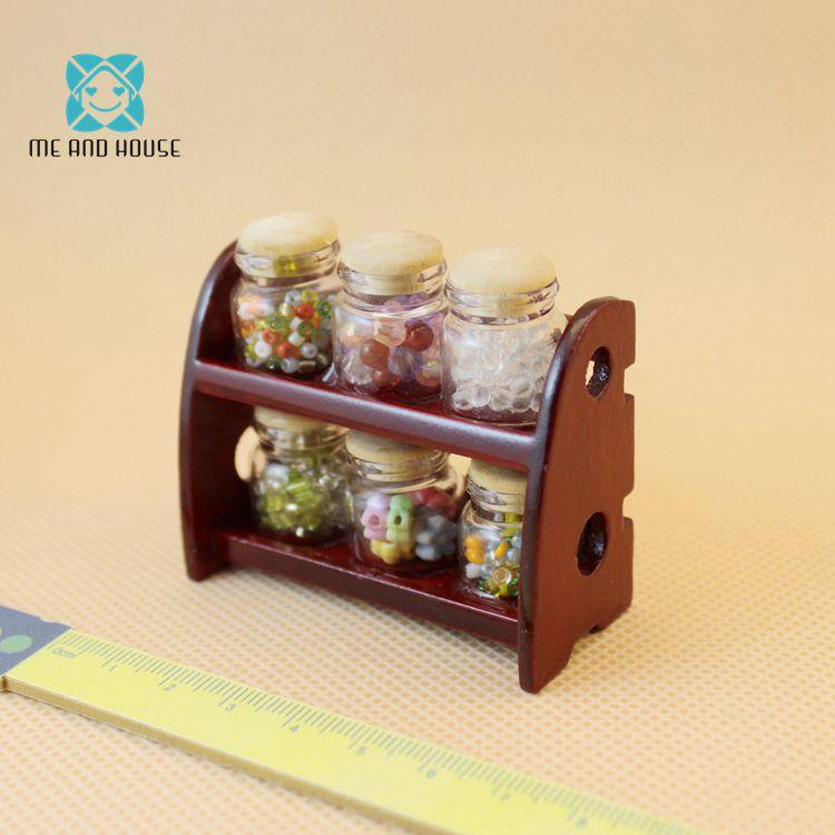Dollhouse Accessories Mini Doll House Miniature Spice Jar With Wood