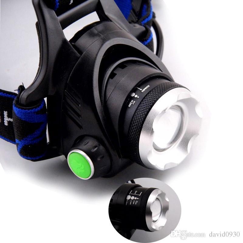 Recargable CREE XML T6 5000Lumens Zoom Cabeza Lámpara antorcha LED Faros Linterna Linterna Linterna pesca nocturna