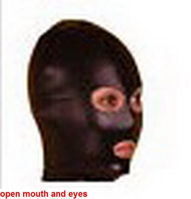 New halloween spandex Lycra spandex Zentai metallic black open mouth hood mask