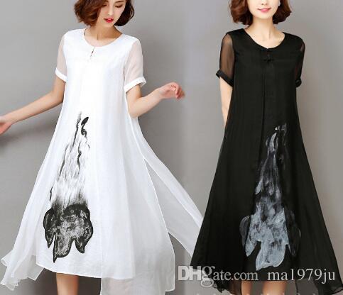 089c0cb6350b2 Yüksek Kalite 2018 Yeni Bahar Yaz Kadın Iş Elbisesi Mürekkep Baskı Retro  Pamuk Keten Tasarımlar Günlük Elbiseler Ince Beyaz, $16.89   DHgate.Com'da
