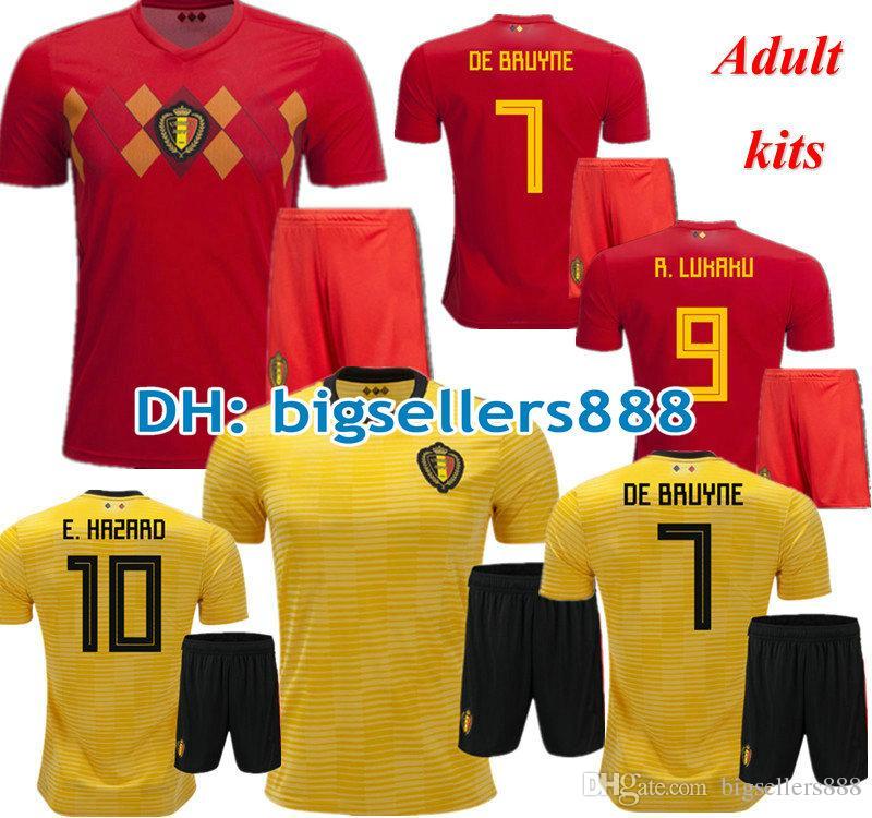 d8d2e3f881286 HAZARD DE BRUYNE 2018 Copa Del Mundo Inicio Rojo Bélgica Fútbol Jersey Kits  NAINGGOLAN LUKAKU KOMPANY MERTENS 18 19 Amarillo Lejos Camiseta De Fútbol  Por ...