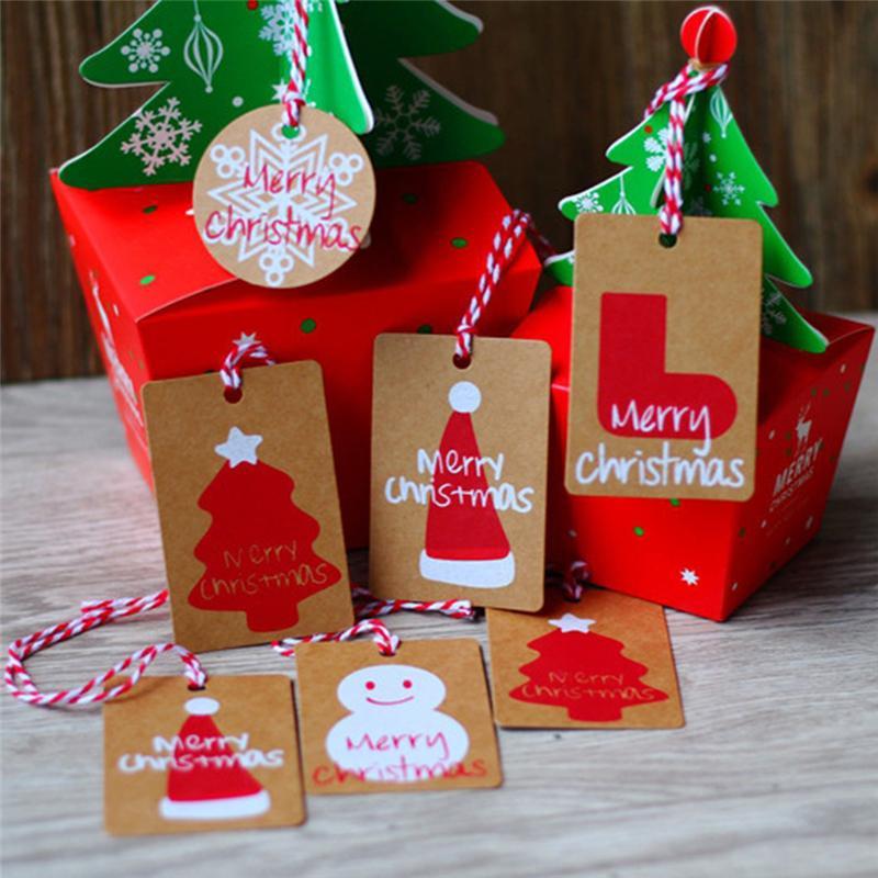 5b8727b51da Compre 50 Unids   Set Navidad Kraft Papel Colgando Etiquetas Tarjeta  Adornos De Navidad Árbol De Navidad Decoración Para El Hogar Manualidades  DIY Party ...