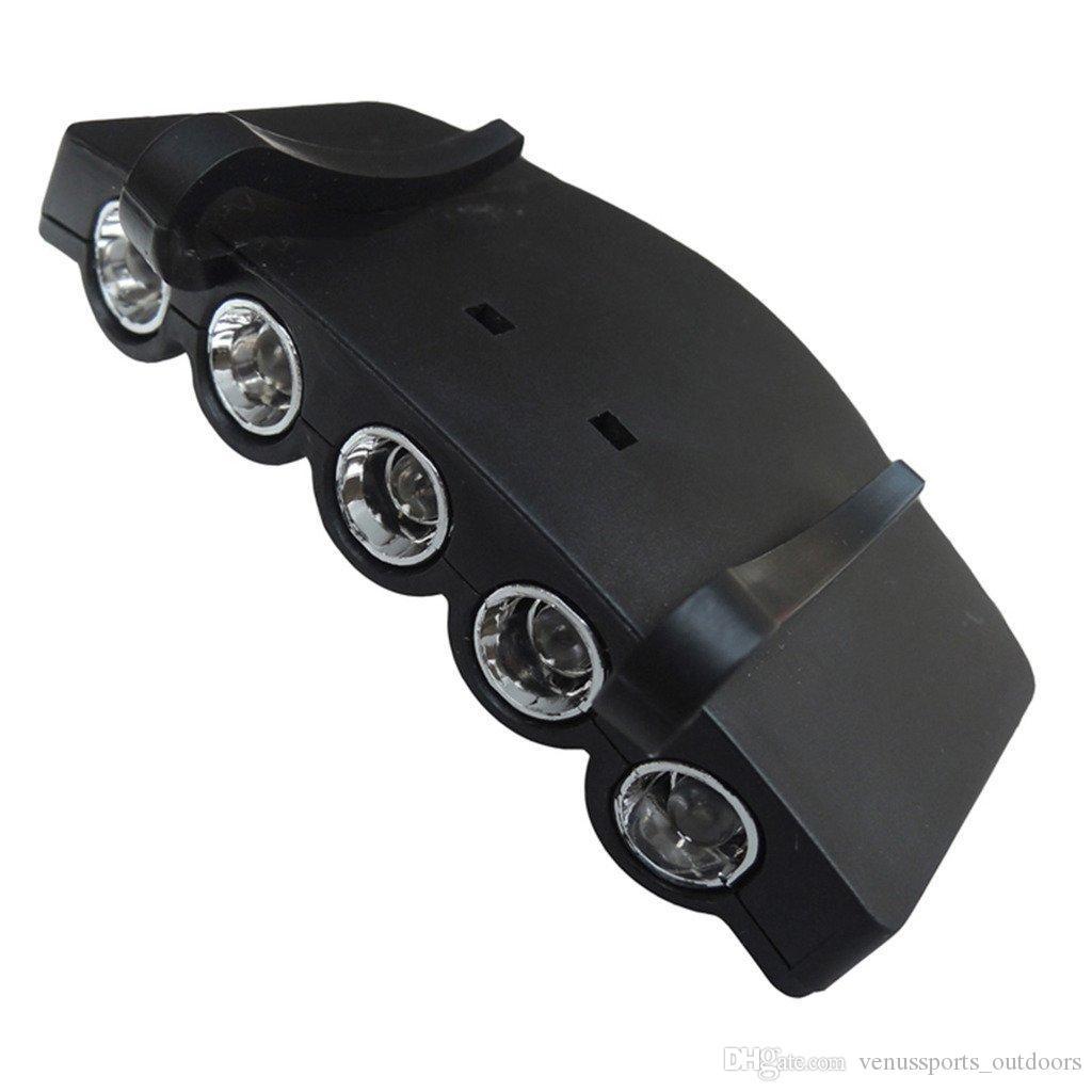 Hat clip lamp 5 LED HeadLamp Flash Cap Hat Torch Head Light Bulb Fishing Camping Ultra Bright