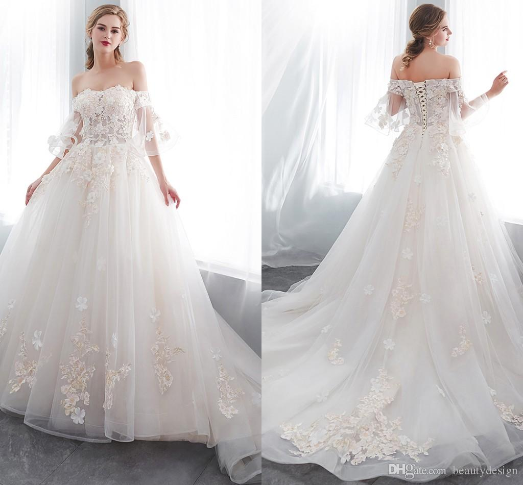 78821f31b7d Discount Vintage Off The Shoulder Lace A Line Dresses 2019 Flare Short  Sleeves Tulle Applique Beaded Sweep Train Wedding Bridal Dresses CPS1003  Gowns For ...