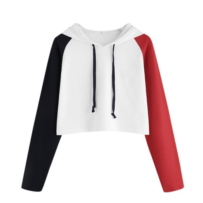 25a0f93ae971d 2019 Fashion Crop Hoodie Women Casual Long Sleeve Sweatshirt Drawstring  Hooded Short Pullover Color Block Patchwork Jumper  JN From Caicaijin10