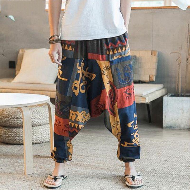 Acquista New Hip Hop Aladdin Hmong Larghi Pantaloni Di Lino In Cotone Lino Uomo  Donna Plus Size Pantaloni A Gamba Larga Nuovi Boho Pantaloni Casual ... d5ed4b8c36df