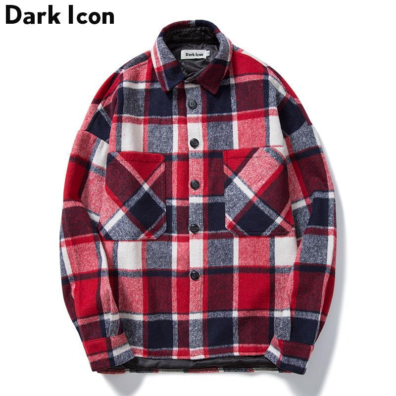 Compre Material De Lana Camisa A Cuadros Hombres 2018 Invierno Calle Alta  Suelta Grueso Camisas Para Hombres Bolsillos Delanteros Camisas Casuales  Para ... cbaaf60656f7