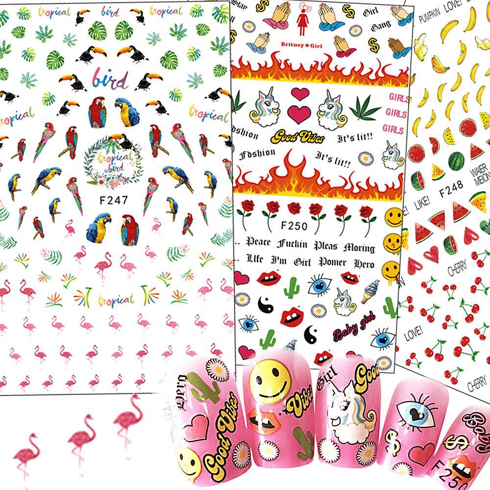 Nail art sticker cartoon flamintgoflowerunicornfruit nail tips nail art sticker cartoon flamintgoflowerunicornfruit nail tips diy 3d decoration beautiful emoji decals chf241 250 nail sticker decals nails with izmirmasajfo