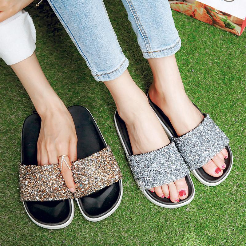 YMECHIC Gold Silver Platform Summer Women Slippers Bling Glitter Casual  Ladies Slides 2018 Flip Flops Flat Platforms Shoes Dilay Knee High Boots  Womens ... 550c751513fe